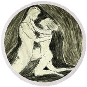 The Embrace Round Beach Towel