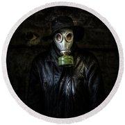 The Gas Mask Man Round Beach Towel