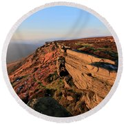 The Gritstone Rock Formations On Stanage Edge Round Beach Towel