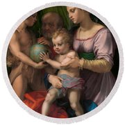The Holy Family With The Young Saint John The Baptist Round Beach Towel
