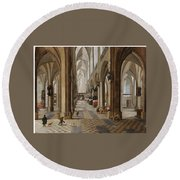 The Interior Of The Onze Lieve Vrouwekerk In Antwerp Round Beach Towel