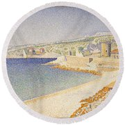 The Jetty At Cassis Opus 198 Round Beach Towel