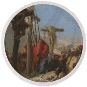 The Lamentation At The Foot Of The Cross   Round Beach Towel