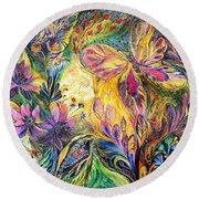 The Life Of Butterfly Round Beach Towel