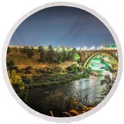 The Monroe Street Dam And Bridge At Night, In Spokane, Washingto Round Beach Towel