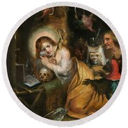 The Penitent Mary Magdalene Visited By The Seven Deadly Sins Round Beach Towel