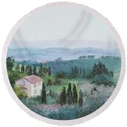 The Rolling Hills Of Tuscany Round Beach Towel