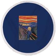 The Scream Ver 1895 Edvard Munch Round Beach Towel