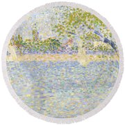 The Seine Seen From La Grande Jatte Round Beach Towel