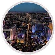 the Strip at night, Las Vegas Round Beach Towel