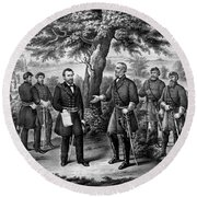 The Surrender Of General Lee Round Beach Towel