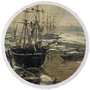 The Thames In Ice Round Beach Towel