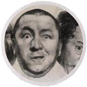 The Three Stooges Hollywood Legends Round Beach Towel
