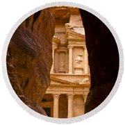 The Treasury Of Petra Round Beach Towel