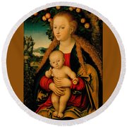 The Virgin And Child Under An Apple Tree Round Beach Towel