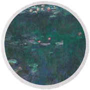 The Water Lilies, Green Reflections Round Beach Towel