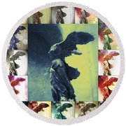 The Winged Victory - Paris - Louvre Round Beach Towel by Marianna Mills