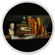 Time And Old Friends Round Beach Towel