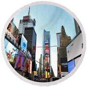 Times Square New York City Round Beach Towel