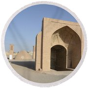 Towers Of Silence. Yazd, Iran Round Beach Towel