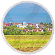 Town Of Vrbovec Landscape And Architecture Round Beach Towel