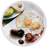 Traditional English British Fried Breakfast With Eggs Bacon And  Round Beach Towel