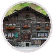 Traditional Swiss Alps Houses In Vals Village Alpine Switzerland Round Beach Towel