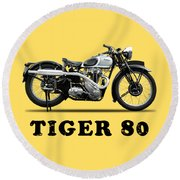 Triumph Tiger 80 1937 Round Beach Towel
