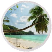 Tropical Beach At Mahe Island Seychelles Round Beach Towel
