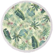 Tropical Leaves Pattern Round Beach Towel