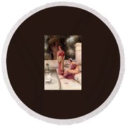 Two Classical Maidens And A Swan Henry Ryland Round Beach Towel