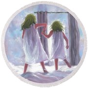 Two Sisters Jumping On The Bed  Round Beach Towel