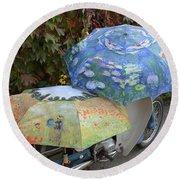 2 Umbrellas On Motorcycle  Round Beach Towel