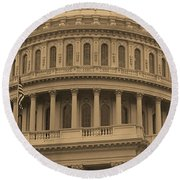 United States Capitol Building Sepia Round Beach Towel