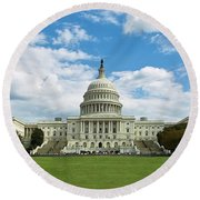 Us Capitol Washington Dc Negative Round Beach Towel