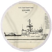 U.s. Coast Guard Cutter Legare Round Beach Towel