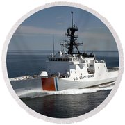 U.s. Coast Guard Cutter Waesche Round Beach Towel