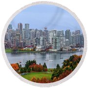 Vancouver In Fall Round Beach Towel