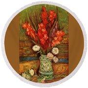 Vase With Red Gladioli  Round Beach Towel