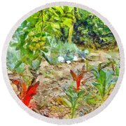 Vegetable Garden Round Beach Towel