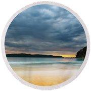 Vibrant Cloudy Sunrise Seascape Round Beach Towel