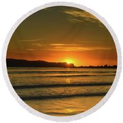 Vibrant Orange Sunrise Seascape Round Beach Towel