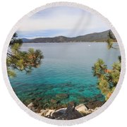View Across Lake Tahoe Round Beach Towel