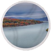 View From The Bear Mountain Bridge Round Beach Towel