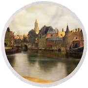 View Of Delft Round Beach Towel