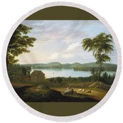 View Of Springfield On The Connecticut River Round Beach Towel
