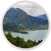 Village Of Talloires On The Banks Of Lake Annecy Round Beach Towel