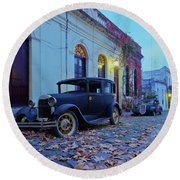 Vintage Cars In Colonia Del Sacramento, Uruguay Round Beach Towel