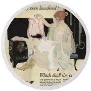 Has It Really Been Laundered Vintage Soap Ad Round Beach Towel