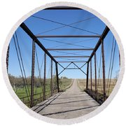 Vintage Steel Girder Bridge Round Beach Towel